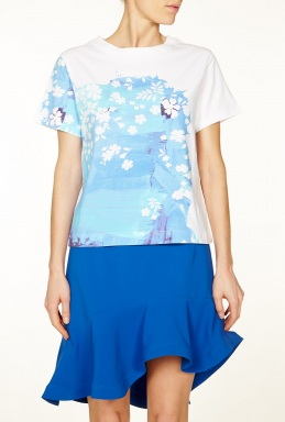 Preen Lara Blue Splash Crop T Shirt By Preen