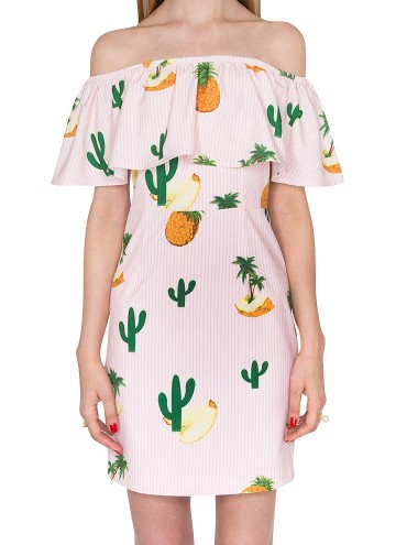 Pineapple Off The Shoulder Dress Cute Party Dresses 102