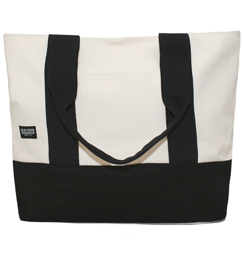 Blk Pine Standard Large Tote Bag In Natural And Black Huh. Store