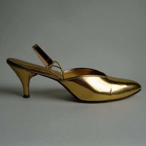 Vintage 1960s Gold Wedding Shoes High Heels Size by unionmadebride