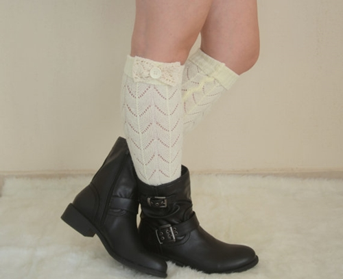 Ivory Lace Bow Leg Warmers Chunky Leg Warmers Girly Leg By Bstyle
