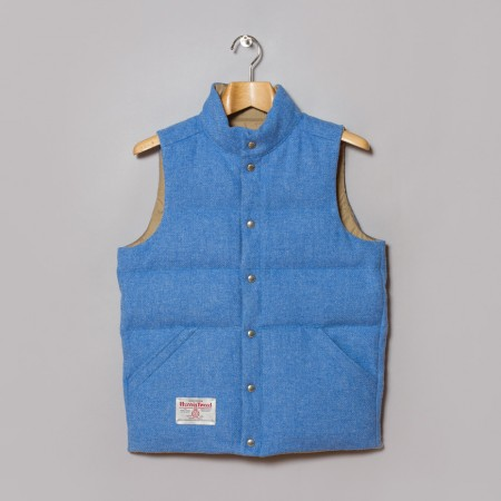 Beams Plus Harris Tweed Button Down Vest Sax Oi Polloi