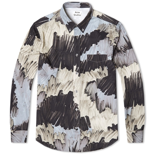 Acne Isherwood Pattern Shirt Camo Grey Beige Marker