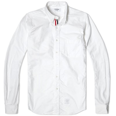 Thom Browne Classic Grosgrain Placket Oxford Shirt White