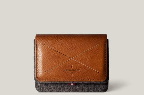 Wallet For Coins And Cards. Handmade In Italy From 100 Wool Felt And Leather. Hard Graft