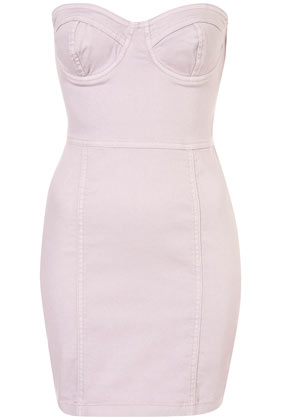Lilac Denim Cup Bandeau Dress Dresses Clothing Topshop
