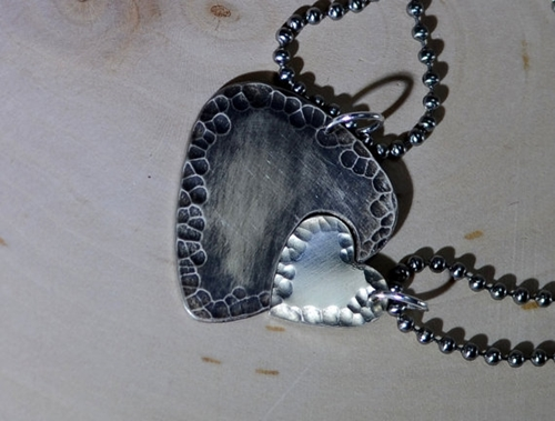 Sterling Silver Guitar Pick And Heart Couples By Nicilaskin