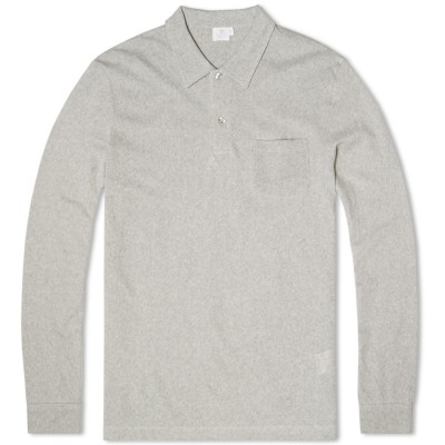 Sunspel Long Sleeve Riviera Polo Grey Melange