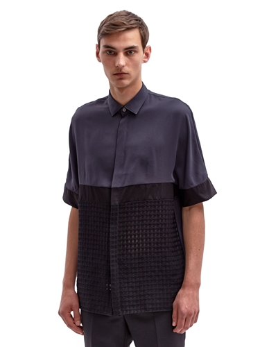 Lanvin Men's Cross Hatched Contrast Panel Shirt Ln Cc