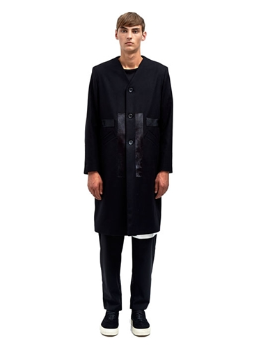 Nicomede Talavera Mens Wool Coat With Ponyskin Applique