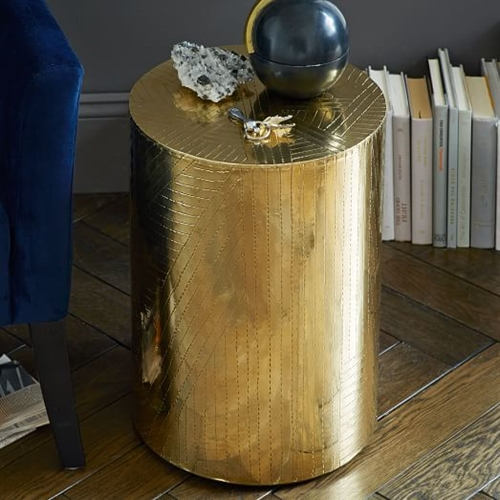 Etched Metal Side Table Brass West Elm