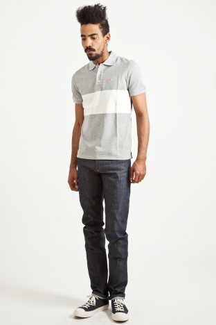 Maison Kitsune Striped Polo Grey White TRES BIEN