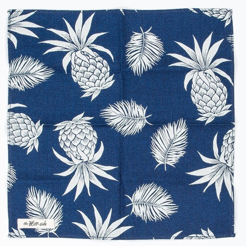 The Hill Side Pineapple Print Discharged Indigo Pocket Square Atoo.Co.Uk
