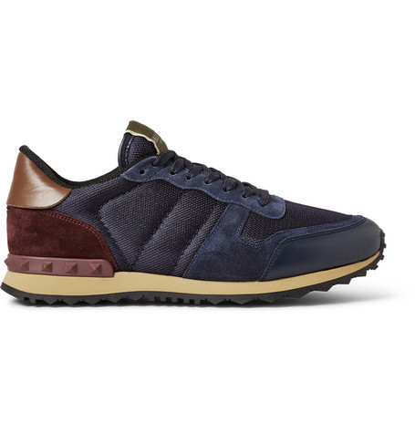 Valentino Suede And Leather Trimmed Mesh Sneakers Mr Porter