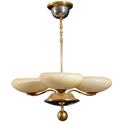 German Art Deco Three Light Chandelier