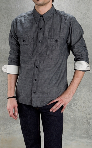 Cultizm com MS033 5oz Chambray Selvage Work Shirt Black Momotaro Jeans MS033 5oz Chambray Selvage Work Shirt Black MS033BK