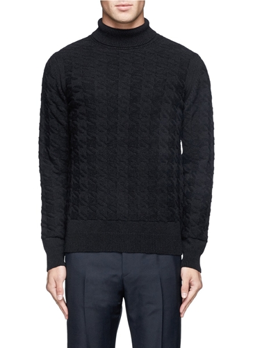 Mauro Grifoni Houndstooth Knit Camel Turtleneck Sweater Black Turtlenecks Knitwear Menswear Lane Crawford Shop Designer Brands Online