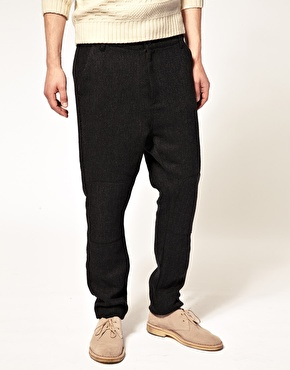 ASOS ASOS Drop Crotch Wool Trouser with Knee Patch at ASOS
