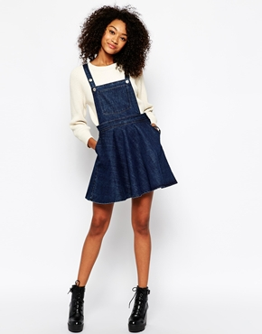 Monki Monki Denim Dungaree Dress At Asos