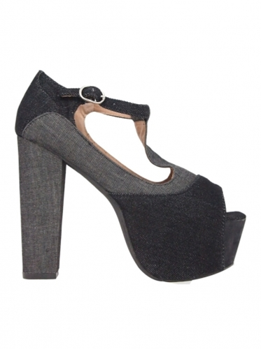 Shoes Jeffrey Campbell Foxy Denim Black Grey