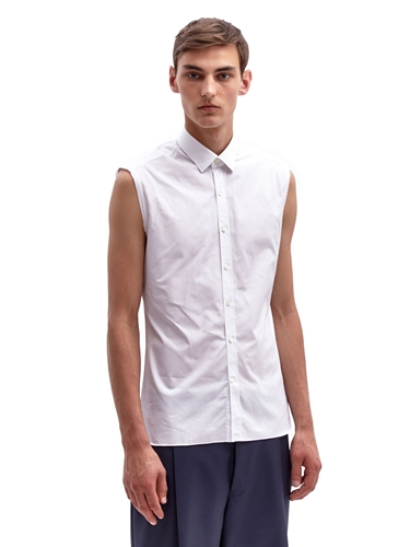 Lanvin Men's Sleeveless Raw Edge Cotton Shirt Ln Cc