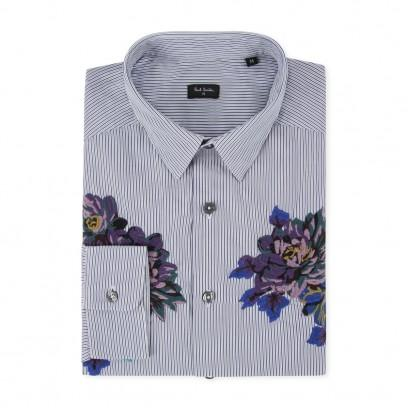 Paul Smith Men's Shirts Navy Embroidered Floral Panel Shirt