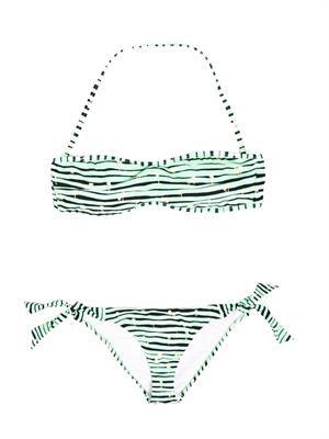Vintage Palm And Stripe Print Bandeau Bikini