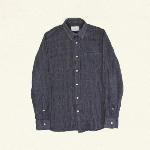 OUR LEGACY GENERATION SHIRT Natural and Navy Woven Stripe