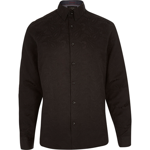 Black Paisley Print Long Sleeve Shirt Formal Shirts Shirts Men