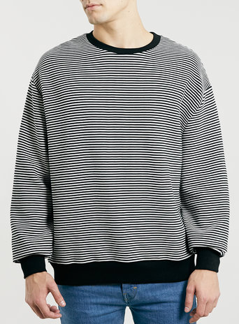 White Black Stripe Rib Sweatshirt Men's Hoodies Sweatshirts Clothing Topman