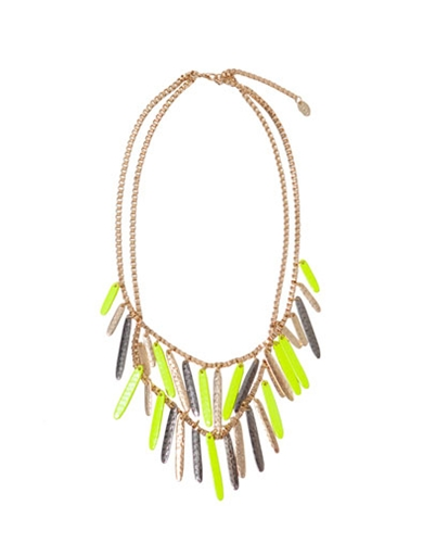 TRICOLOUR DOUBLE NECKLACE WITH A TOUCH OF LIME Accessories Woman New collection ZARA United States