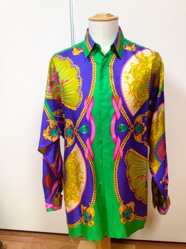 LADY GAGA Authentic Vintage GIANNI VERSACE 1991 Silk Shirt THEATRE theme Sz 52 eBay