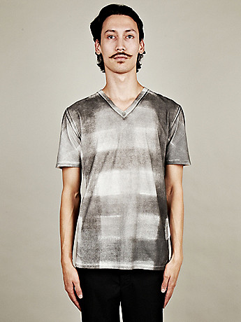 Maison Martin Margiela 10 Men s Printed V Neck T Shirt in grey check at oki ni
