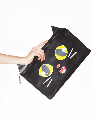 Cat Leather Clutch