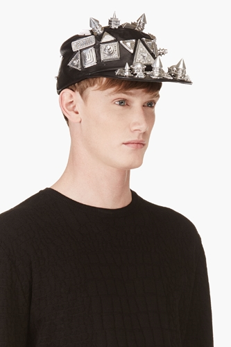 Ktz Black Oversize Stud Leather Patrol Cap For Men Ssense