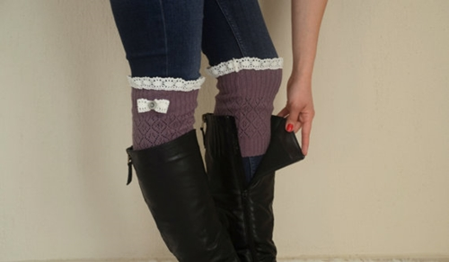 Lavender Knit Bow Lace Boot Cuffs Boho Boot Socks Lace By Bstyle