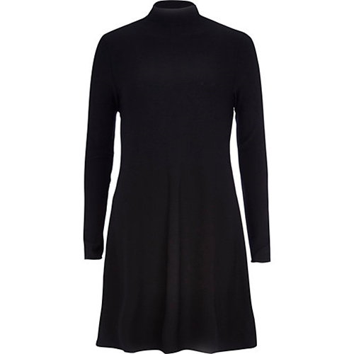 Black Turtle Neck Swing Dress Day T Shirt Dresses Dresses Women