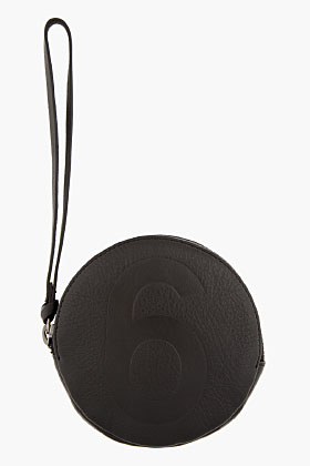 Mm6 Maison Martin Margiela Black Leather Circular Wristlet Pouch For Women Ssense