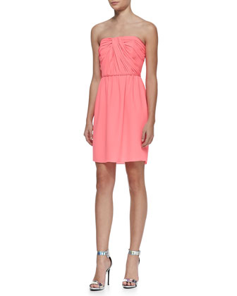 Shoshanna Zoya Strapless Ruched Bodice Dress Neon Pink