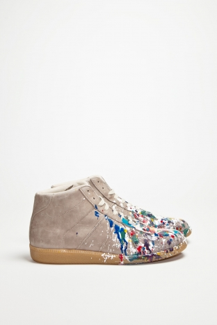 Maison Martin Margiela Replica Leather Sneaker Mid Paint TRES BIEN