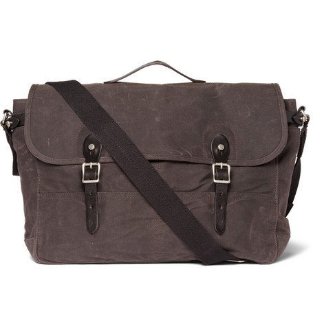 J Crew Abingdon Waxed Cotton Canvas and Leather Messenger Bag MR PORTER