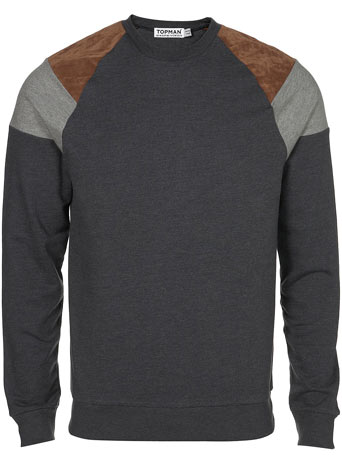 Charcoal Suede Patch Raglan Sale Sale Special Offers TOPMAN USA