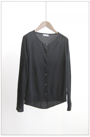 vintage cardigan knit charcoal silk cotton pre pilled youasme spring summer 2012
