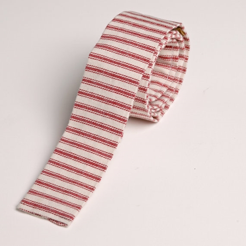 Rugged red striped Duck Cloth neck tie by WhiteHorseTradingCo