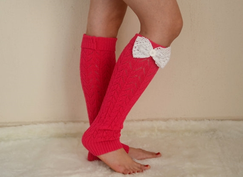 Hot Pink Knit Lace Bow Leg Warmers Chunky Leg Warmers By Bstyle