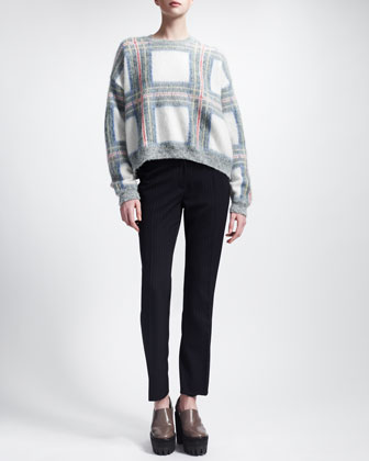 Stella Mccartney Oversized Cropped Sweater Cropped Pinstripe Pants Neiman Marcus