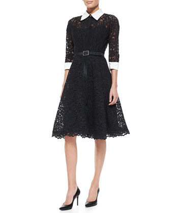 Rickie Freeman For Teri Jon 3 4 Sleeve Lace Cocktail Shirtdress With Embellished Buckle Belt