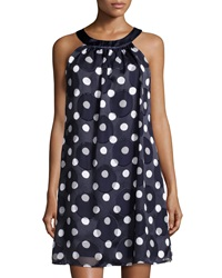 Muse Polka Dot Halter Dress Navy White