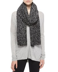 Vince Speckled Cotton Blend Knit Scarf Black White