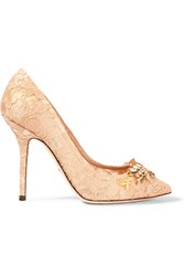 Dolce And Gabbana Embellished Corded Lace Pumps Blush